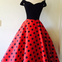 Red Polkadot ROCKABILLY Swing Dress, Capped Sleeves, Sexy Off the Shoulder 1950s Style Pinup Bridesmaid Rock n Roll Party Dress