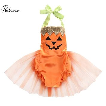 Halloween Baby 2017 Newborn Girls Clothes Pumpkin Printed Romper Dress Toddler Cute Orange Costume 0-24M