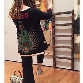 2018 Autumn Winter Runway Designer knitted Cardigan Women Long Sweater Cashmere Embroidered Monkey Diamond Black Jumper Clothes