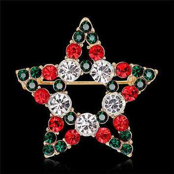 1X Hot Fashion Star Crystal Rhinestone Snowman Christmas Brooch Pin Xmas Gift HU