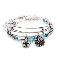 Alex and Ani Ovarian Cancer Strength in Full Bloom Set of 3 Expandable Wire Bangle Rafaelian Silver
