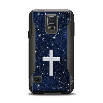 The Vector White Cross v2 over Bright Starry Sky Samsung Galaxy S5 Otterbox Commuter Case Skin Set