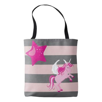 Cute Pink Unicorn and Pink Star Tote Bag