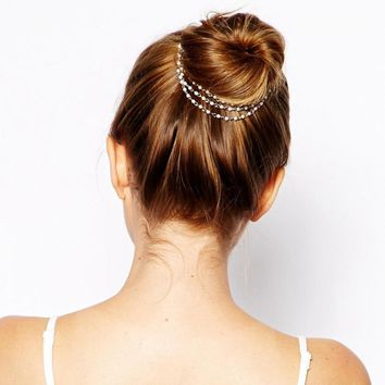 1PC New Elegant Fashion Women Lady Multilayer Tassels Pearl Chain Hairpin Dish Party Wedding Hair Accessories Hair Clip Hot Sale