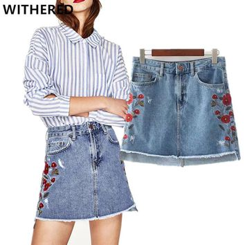 Withered women Denim skirt 2017spring and summer europe and american washed burrs floral embroidery mini A-line skirts women