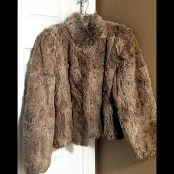 Rabbit Fur Coat Vintage 100% Genuine Split End Ltd. Dyed Browns Jacket Size M