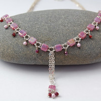 Pink Beaded Necklace  Necklace with Square by MiscellaneaEtcetera