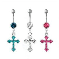 "316L Surgical Steel - Blue Zircon Cubic Zirconia - Antique Cross Belly Rings - 14g 3/8"" Length - Sold Individually"