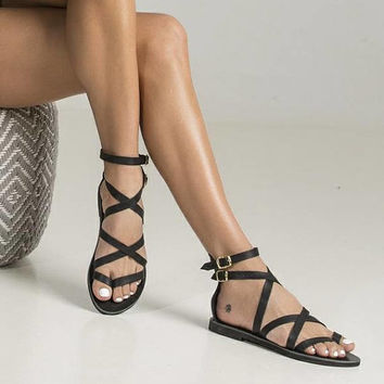 "Sexy black sandals ""Belladonna"" in Spartan design. Ideal gift for your girlfriend for spring and summer"