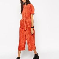 ASOS Jumpsuit In Suede at asos.com
