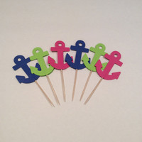 Lime, Navy and Hot pink  large Anchor cupcake toppers. Anchor Party picks, Party decor, baby shower, happy birthday, 18 per order.