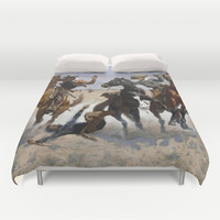 Frederic Remington - Aiding a Comrade Duvet Cover by ArtMasters