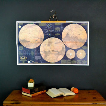 The Red Planet Mars, 1973 National Geographic Poster Size Map of the Mars, Original Mars Poster not a reproduction!, Paper Ephemera, 2 sided
