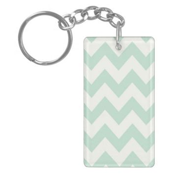Light Green Chevron Acrylic Key Chain