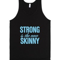 Strong is the new Skinny Carolina Blue-Unisex Black Tank