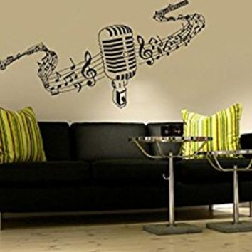Wall Decal Vinyl Sticker Decals Art Decor Microphone Mic Melody Notes Song Singer Juzz Bedroom Dorm Lounge Kids Sound Living room (r750)