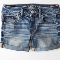 AEO 's Rolled Denim Midi Short (Medium Tinted Indigo)