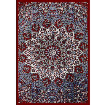 Indian Mandala Tapestry ~ Wall Hanging Tapestries ~Bedspread Beach Towel Yoga Mat 210x148cm Sky Blue