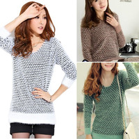 New Fashion Autumn Restoring Girl's Soft Check Long Pullovers Knitted Sweater Outwear  SV007989