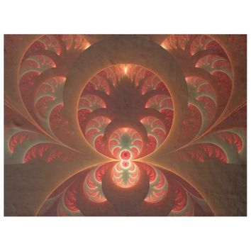 Luminous abstract modern orange red Fractal Fleece Blanket