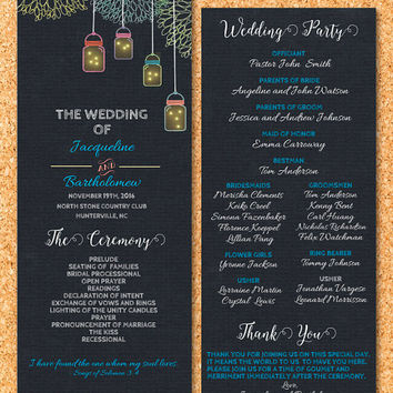 DIY Wedding Program Template Printable, Editable PDF Template, Instant Download, Digital, Chalkboard Mason Jars and Fireflies #1CM77-1
