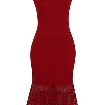 Streetstyle  Casual Asymmetric Neck Hollow Out Solid Mermaid Bodycon Dress