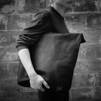 Leather Tote Bag | Black Leather Travel from PARTEMshop on Etsy