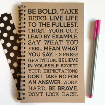 Writing journal, spiral notebook, cute diary, small sketchbook, scrapbook, memory book, 5x8 journal - Be bold, take risks motivational quote
