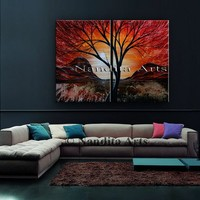 """Colorful Painting, 48"""" Red Sunset Landscape Painting, Abstract Original Painting, Tree Art Painting, Modern Tree Painting, by Nandita"""