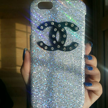 Bling Glitter Shiny Cabochon CC Channel Logo Diamond iPhone 5 5S 6 Phone Case