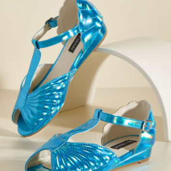 You Mermaid My Day Vegan Flat in Ocean | Mod Retro Vintage Sandals | ModCloth.com