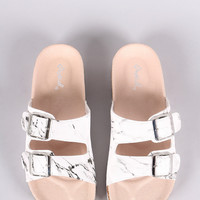 Qupid Marble-Effect Buckled Side Sandal