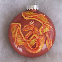 handmade in the USA Dragon Ornament polymer and glass free shipping