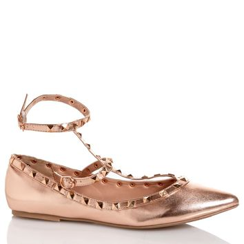 Womens Studded Ankle Strap Ballet Flats 545793974