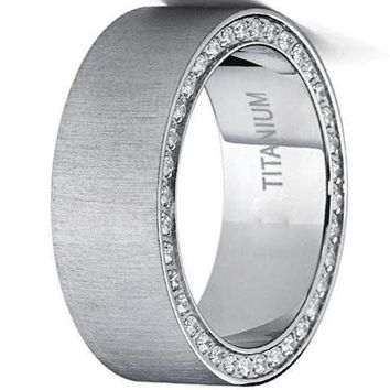 CERTIFIED 8mm Titanium Men's Brushed Wedding Band Ring with Cubic Zirconia, Two Row Pave Set Eternity Ring