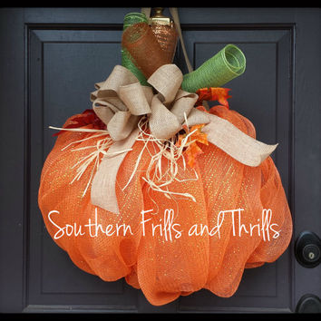 Pumpkin Fall Deco Mesh Wreath