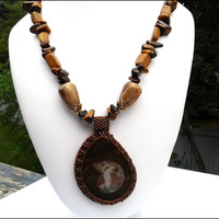 Hand Beaded Brown Ammonite Tiger Eye Women's Necklace | Tiger Eye Gemstone Ammonite Natural Stone Necklace | Lady Green Eyes Jewelry