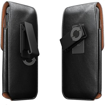 iPhone X Belt Case, Apple iPhone X Case with Belt Clip, Swivel Belt Clip Leather Pouch Cell Phone Holster Holder for iPhone X, Fits iPhone X with Thin Protective Cover on - Black