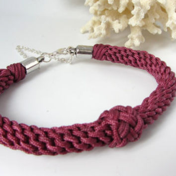 Nautical Bracelet Marlinspike Knotting Red Nylon Cord Valentines Friendship Gift for Her Unique Hand Tied Jewelry Three Strand Cord Love