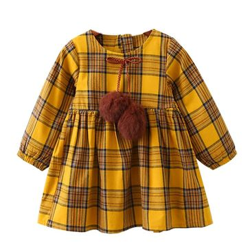 Menoea Girls Autumn Dress 2018 New British Style Children Plaid Fur Ball Bow Kids Clothes Dress Design For 3-7Y Baby Girls Dress