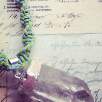 Choker- Green and Blue Hemp Cord Necklace with Quartz Crystal Pendant