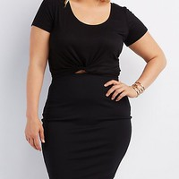 Plus Size Knotted Crop Top