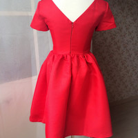 Victorian Style Red Dress - Sweetheart Short Sleeve Red Dress - Red Party Dress - Petite Dress - Flared Skirt - Black Dress
