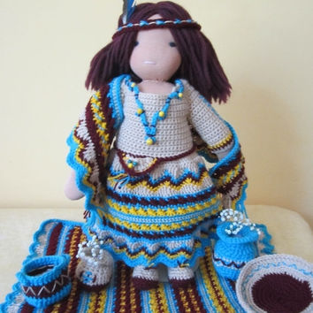 """ON SALE - 10% OFF Crochet Indian Style set for 16-18"""" Waldorf doll and American Girl doll"""