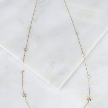 Large Crystal Studded Necklace Gold
