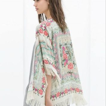 Printed Sleeve Chiffon Cardigan With Tassel