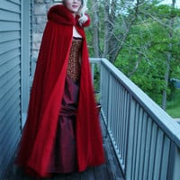 All Red Velvet Cape Red Riding Hood Trimmed in by KMKDesignsllc