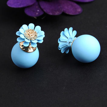 Summer Style Double Sided simulated Pearl Ball Stud Earring Pairs for Women Aretes Brincos boucle d oreille oorbellen