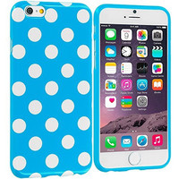 Baby Blue / White TPU Polka Dot Rubber Case Cover for Apple iPhone 6 Plus 6S Plus (5.5)