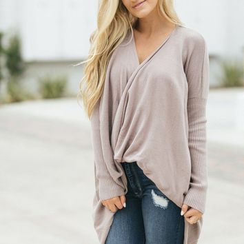 Rhea Taupe Surplice Sweater